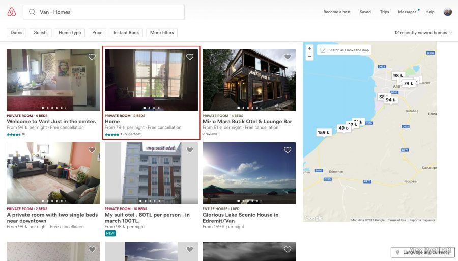 AirBNB host search example for Van city