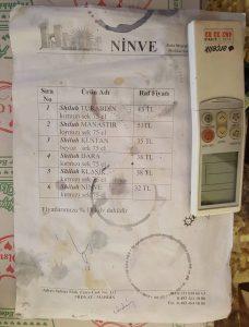 Assyrian wine price list from Midyat